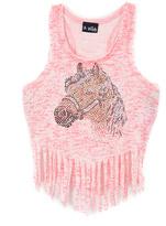 A Wish Pink Rhinestone Horse Fringe Tank - Toddler & Girls