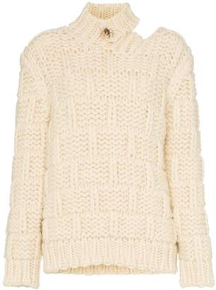 Calvin Klein high neck cutout mohair wool blend jumper