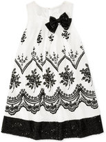 Bonnie Jean Black and White Sleeveless Dress with Bow, Big Girls (7-16)