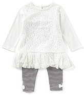 Starting Out Baby Girls 12-24 Months Lace Ruffle-Hem Top & Striped Leggings Set