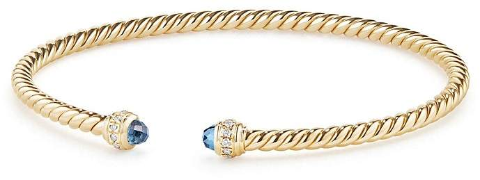 David Yurman Cable Spira Bracelet in 18K Gold with Hampton Blue Topaz & Diamonds