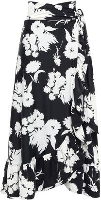 Ganni Alameda Floral-print Scuba Midi Wrap Skirt