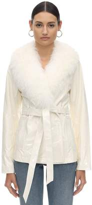 Saks Potts PATENT LEATHER & SHEARLING JACKET
