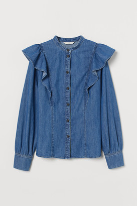 H&M Flounced denim blouse