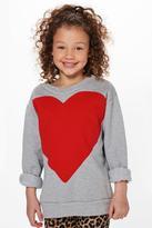 Boohoo Girls Heart Print Sweat Top grey marl