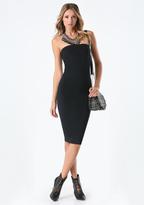 Bebe Strapless Solid Midi Dress