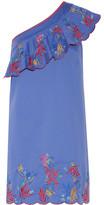 Saloni Esme One-shoulder Embroidered Washed Stretch-cotton Mini Dress - Blue
