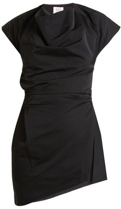 Rosie Assoulin Asymmetric Draped-front Taffeta Top - Black White