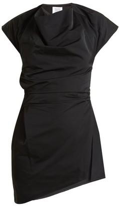 Rosie Assoulin Asymmetric Draped Front Taffeta Top - Womens - Black White