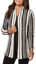 Chaps Petite Striped Open-Front Cardigan