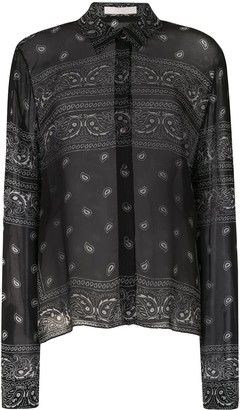 Dion Lee Bandana-Print Sheer Shirt