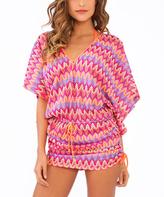 Luli Fama Orange & Multi-Color Chevron Cabana Swimsuit Cover-Up