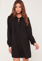Missguided Lace Up Placket Shift Dress Black