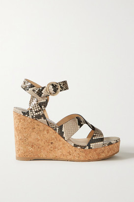 Jimmy Choo Aleili 100 Snake-effect Leather Wedge Sandals - Snake print