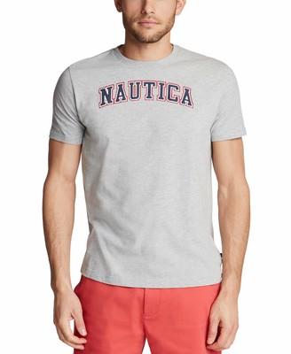 Nautica Men's Short Sleeve 100% Cotton Classic Logo Series Graphic Tee Navy Medium