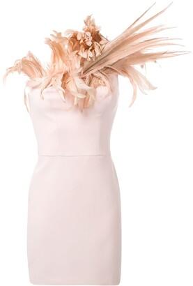 Isabel Sanchis Feather Neckline Dress