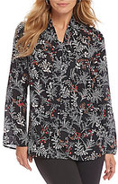 Preston & York Beatrice Tie Neck Floral Print Blouse