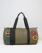 Asos Barrel Bag In Khaki With Patches