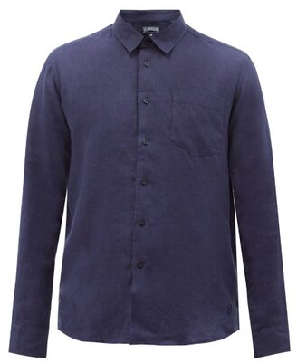Vilebrequin Logo-embroidered Slubbed-linen Shirt - Mens - Navy