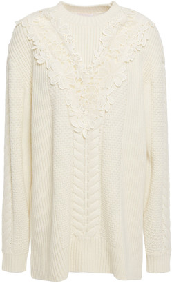 See by Chloe Guipure Lace-paneled Cable-knit Wool-blend Sweater