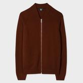 Paul Smith Men's Burnt Red Merino Wool Zip-Front Cardigan