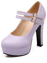 BalaMasa Ladies High-Heels Round-Toe Imitated Leather Pumps-Shoes