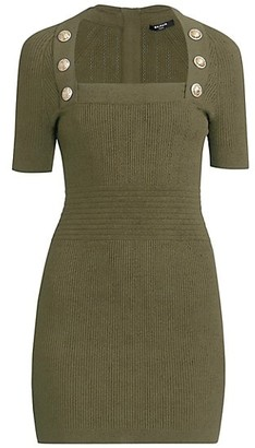 Balmain Short-Sleeve Button-Detailed Knit Dress