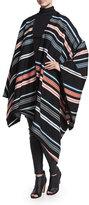 Kenzo Striped Twill Oversize Poncho, Black