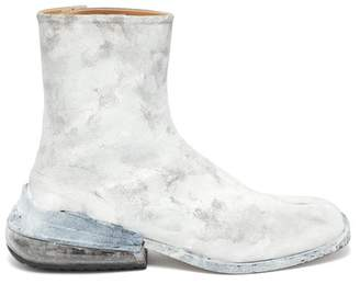 Maison Margiela Tabi Painted Split-toe Leather Ankle Boots - Mens - White Multi