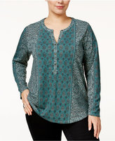 Style&Co. Style & Co. Plus Size Mixed-Print Split-Neck Top, Only at Macy's