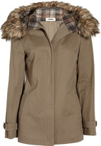 L'Agence Cotton-twill and faux fur hooded coat