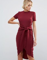 Club L Office Tie Waist Burgandy Short Sleeve Midi Dress