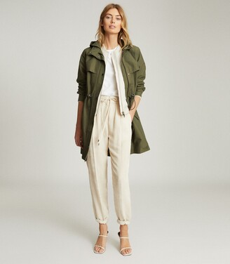 Reiss Cora - Lightweight Parka Jacket in Khaki