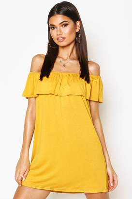 boohoo Off The Shoulder Jersey Swing Dress