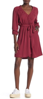 Velvet Heart Esther Long Sleeve Striped Surplice Wrap Dress