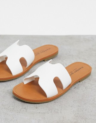 Madden-Girl double buckle flat sandals in white