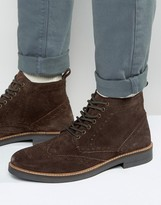 Frank Wright Suede Brogue Boots In Brown