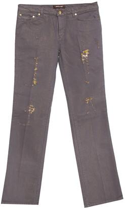 Roberto Cavalli Brown & Gold Denim Distressed Straight Leg Jeans M