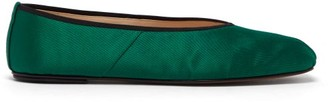 The Row Ballet Square-toe Satin Flats - Womens - Green
