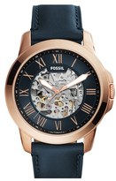 Fossil 'Grant' Leather Strap Skeleton Watch, 45mm