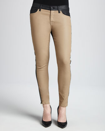 7 For All Mankind The Pieced Ankle Skinny in Khaki and Leather