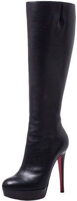 Christian Louboutin Black Leather Fifi Botta Knee Boots Size 36