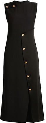 Versace Sleeveless Satin Button Cocktail Dress