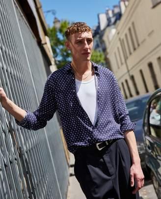 The Kooples Classic collar white polka dot printed blue shirt
