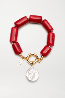 Eliou Antoni Gold-plated, Coral And Pearl Bracelet - Red