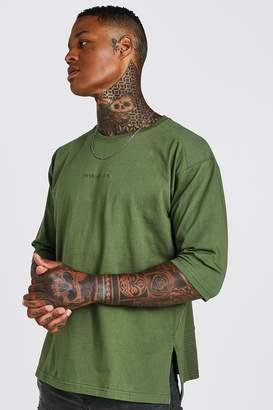 boohoo MAN Loose Fit 3/4 Sleeve Biker T-Shirt