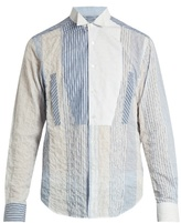 Loewe Wing-collar Patchwork Cotton-blend Shirt