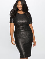 ELOQUII Plus Size Studio Sequin Draped Front Dress