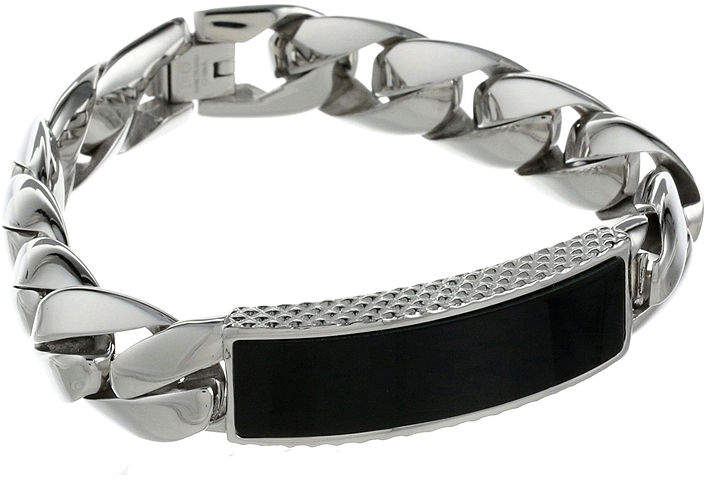 JCPenney FINE JEWELRY Mens Stainless Steel & Black Onyx ID Curb Bracelet