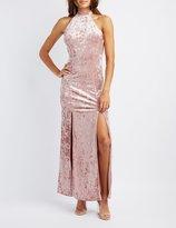 Charlotte Russe Velvet Mock Neck Maxi Dress